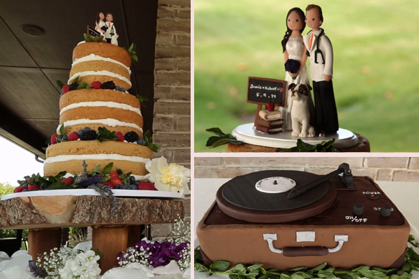 naked wedding cake and grooms cake and cake topper