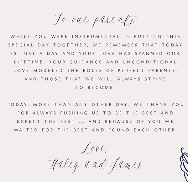 Letter to Parents on their wedding day