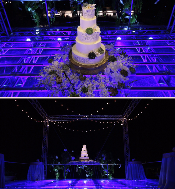 WOW-Wedding-Cake-Suspended over the dance floor