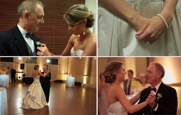 Father of the Bride and Bride exchange gifts on daughter's wedding day